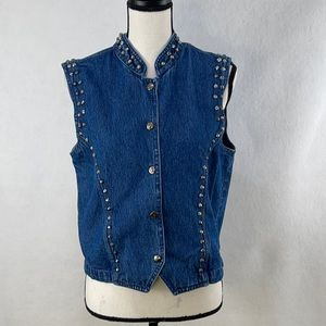 Don't Mess with Texas denim studded vest